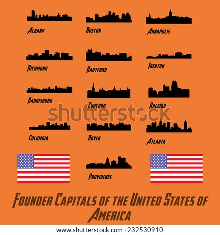 Founder Capitals of the United States of America (city silhouettes) - stock vector