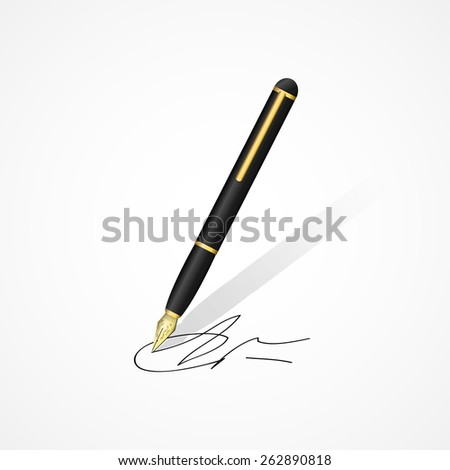 fountain pen and signature on white background. gold ink pen