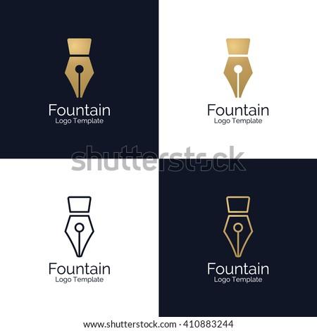 Fountain Pen Logo template. Corporate branding identity - stock vector