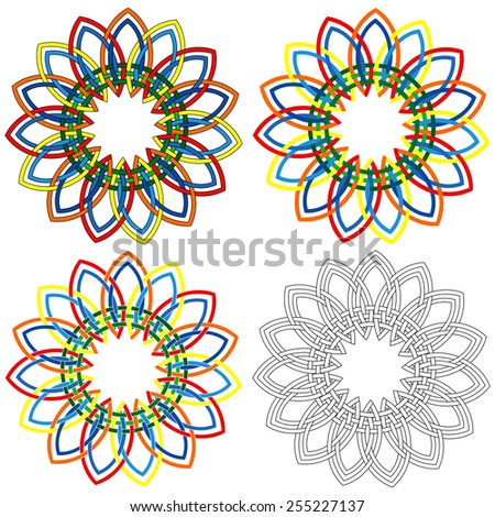 Four abstract colorful vector circular colorful shapes similar to wicker patterns with different details in performance
