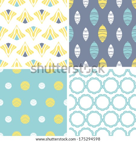Four abstract fun motives seamless patterns set - stock vector