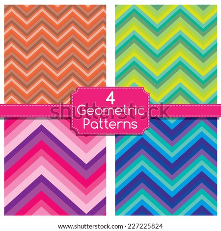 Four Abstract Geometric Pattern. Technological futuristic design. ZigZag background. Vector illustration - stock vector