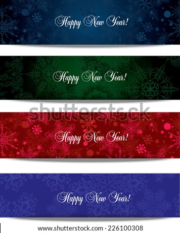 Four Abstract Winter Banners  - stock vector