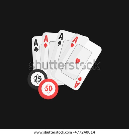 Four Aces And Casino Chip Game Of Poker