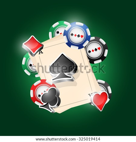 Four aces and poker chips vector illustration with three dimensional suits.