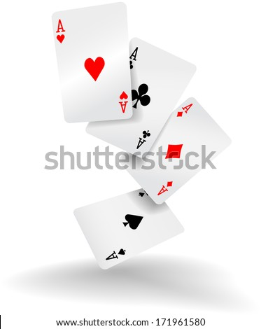Four aces of diamonds clubs spades and hearts fall or fly as poker playing cards - stock vector
