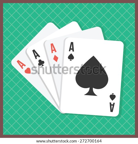 Four aces on poker table. Playing cards isolated on green background. Vector illustration - stock vector
