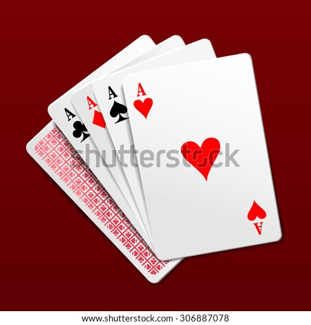 Four aces playing cards. Photorealistic vector illustration - stock vector