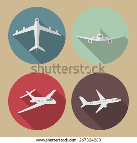Four airplane flat icons with long shadow. Vector illustration.  - stock vector