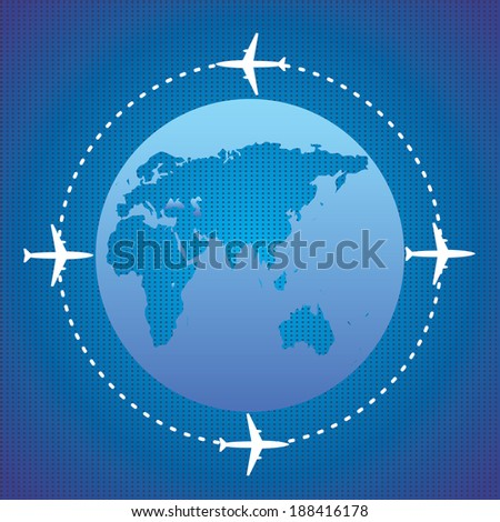 Four airplanes and planet - stock vector