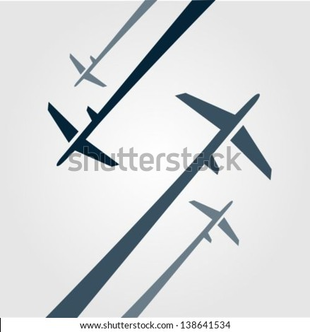 Four airplanes background - stock vector