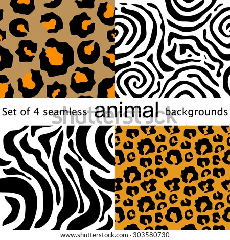 Four animal seamless patterns. Leopard, zebra, tiger, jaguar. Safari collection. Abstract vector backgrounds. Backgrounds & textures shop. - stock vector
