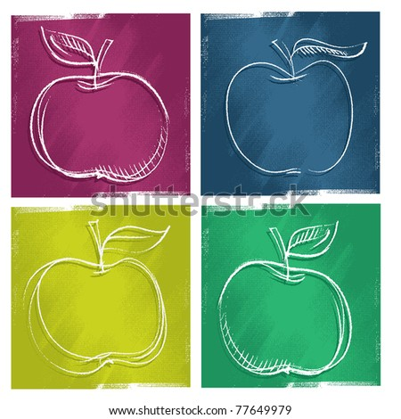 four apple icons, freehand painterly drawing (vector) - stock vector