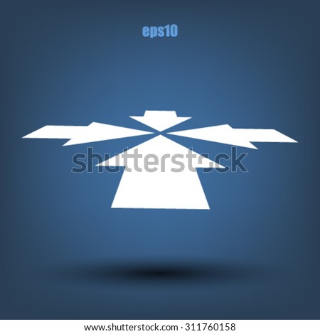 Four arrows facing each other in perspective. Flat icon - stock vector