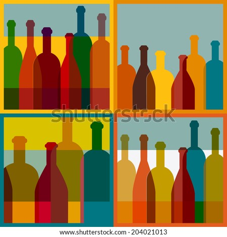 Four art wine bottle designs. Vector colored image.