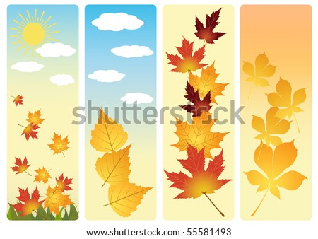 Four autumn banners. Vector  illustration.