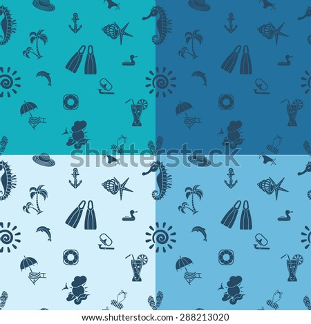 Four Background in Different Colors, Summer and Beach. Vector - stock vector