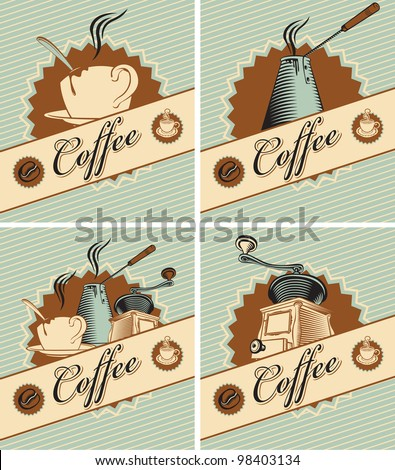 four banners on theme of coffee in retro style - stock vector