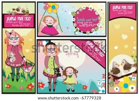 Four banners - set.Spring Summer cards. - stock vector