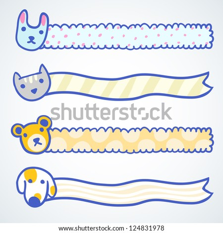 Four banners with cartoon doodle animals - stock vector