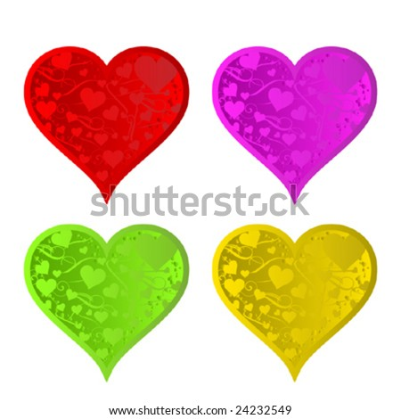 Four beautiful colorful Valentine harts - stock vector