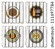 Four beer labels on old wood background - stock vector