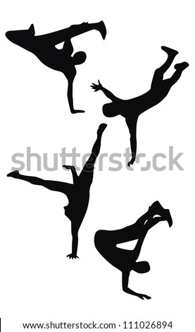 Four black hip hop dancing silhouettes - stock vector