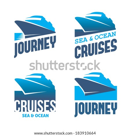 Four blue labels with stylized cruise liner in vector - stock vector