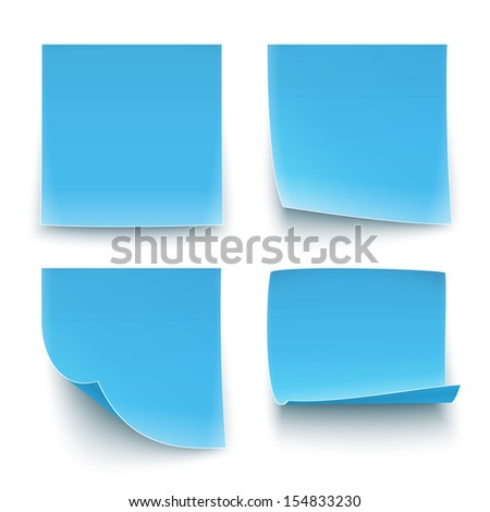 Four blue paper stickers, twisted on different degree. Vector illustration. EPS10. - stock vector