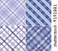 Four Blue Plaid Patterns Vectors - stock photo