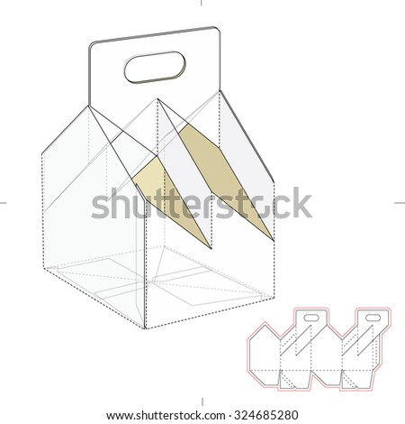 Six pack custom top lock box stock vector 339969437 shutterstock four bottle carrier box with die cut template pronofoot35fo Images