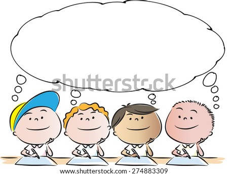 Four Boys Thinking With Blank Bubble