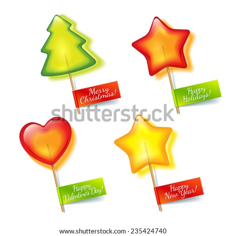 Four bright holiday lollipop in the form of green spruce, yellow stars and red hearts isolated on a white background  for Christmas, New Year and Valentine's Day - stock vector
