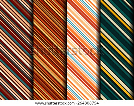 Four bright sample of seamless fabrics similar to men's ties. Can be used as background for web design or greeting gift wrapping. - stock vector