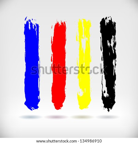 Four Broken up Blue, Red, Yellow and Black Paint Strokes, Vector Illustration EPS10