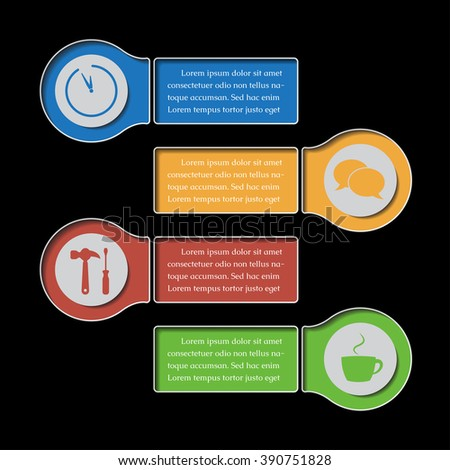 four business and media info graphic banners with icon symbols - design templates on a black background - stock vector