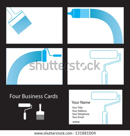 Four business card designs for painters and decorators - stock vector