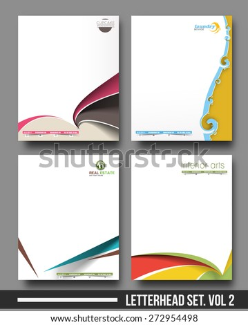 Four Business Style Corporate Identity Leterhead Template.  - stock vector