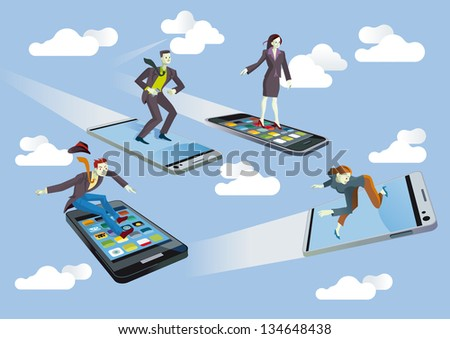Four Businessmen and Businesswomen  flying or surfing on mobile phones sailing between clouds in a blue sky. They are enjoying the technology. - stock vector