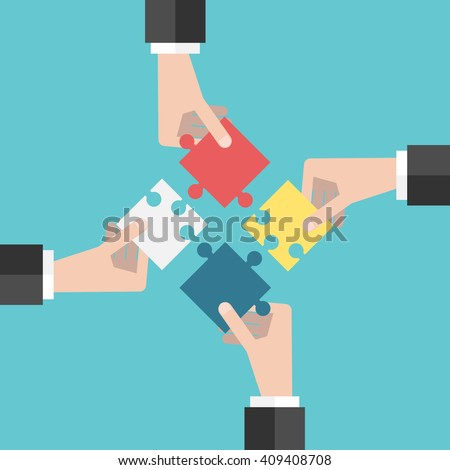 Four businessmen hands putting puzzle pieces together. Flat style illustration. Teamwork, cooperation, business and solution concept. EPS 8 vector illustration, no transparency - stock vector