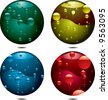 Four buttons with different coloured bubbles all with drop shadows - stock photo