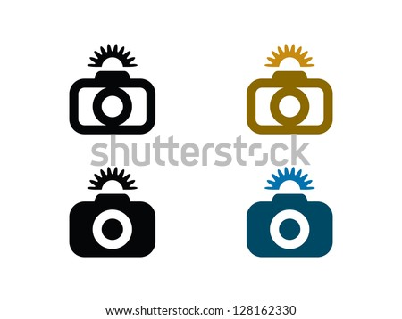 Four Camera Icons with Flash. - stock vector