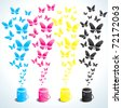 Four cans of paint in four colors and butterflies - stock vector