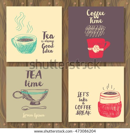 four card for tea or coffee time, vector illustration in hand drawn style