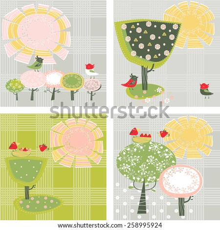 Four cards with spring trees and birds - stock vector