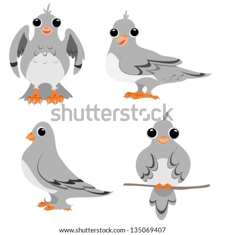 Four cartoon drawings of pigeons