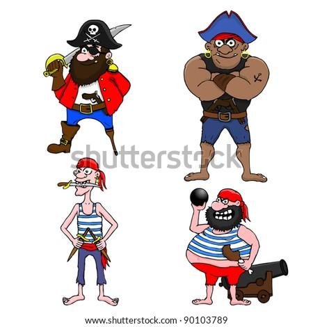 Four cartoon pirates on white background - stock vector