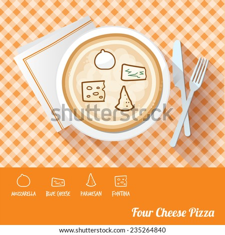 Four cheese pizza on a dish with icon ingredients and recipe name at bottom - stock vector