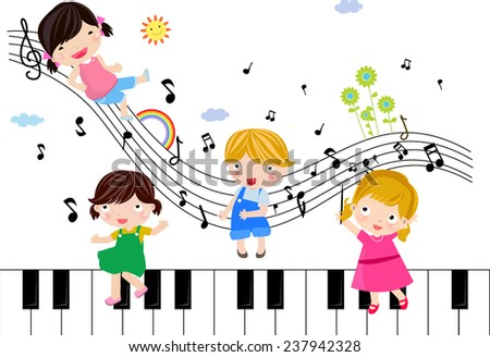 Four children and music - stock vector