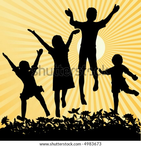 Four children jumping with sun and rays as background